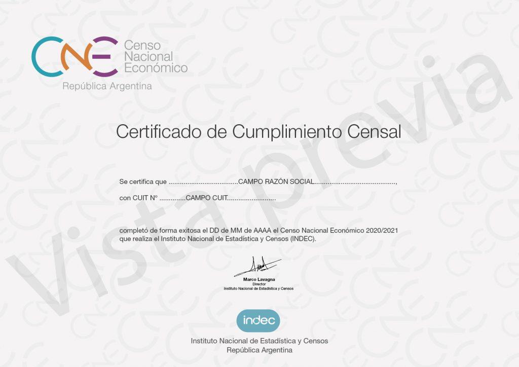Certificaco Censal